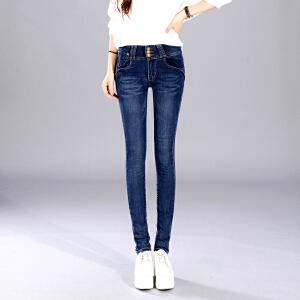 Freefeel2017秋季新款女装学生铅笔弹力修身显瘦高腰牛仔长裤女式小脚裤子