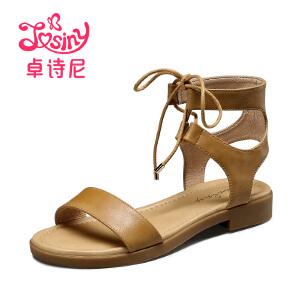 卓诗尼2017新款平底绑带凉鞋女夏休闲低跟露趾系带女鞋144714242