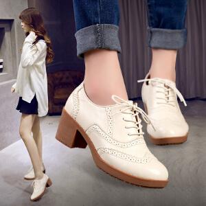 公猴春季新款英伦布洛克牛筋女单鞋休闲女鞋高跟粗跟欧美秋鞋