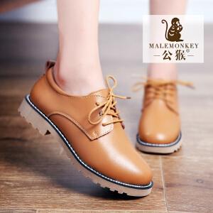 公猴春季新款小皮鞋女英伦风真皮女鞋平底鞋系带学生休闲女鞋单鞋学院