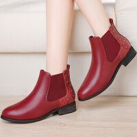 女靴新款英伦铆钉时尚短靴中跟粗跟女靴圆头套脚中筒靴子女 GQ8531