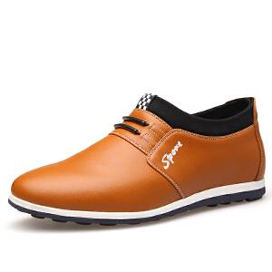 格罗堡春季新款男士增高鞋隐形内增高男鞋6CM商务休闲鞋圆头厚底增高皮鞋