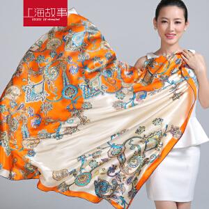 上海故事 真丝丝巾女士围巾春秋围巾女真丝围巾方巾夏季空调披肩