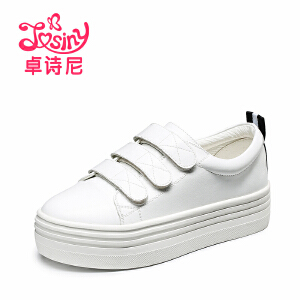 卓诗尼2017春季新款魔术贴小白鞋女 休闲松糕厚底板鞋韩版学生鞋