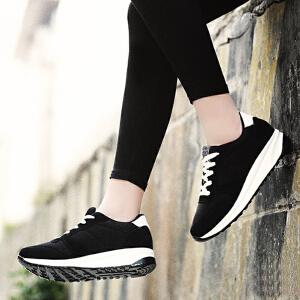 公猴春季女鞋运动鞋女跑步鞋厚底休闲鞋真皮平底女鞋学生单鞋跑鞋