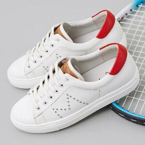 卓诗尼新款系带小白鞋休闲鞋女 时尚百搭女板鞋
