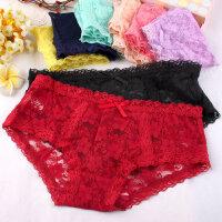 日系蕾丝内裤女性感透明镂空可爱少女内裤甜美低腰短裤