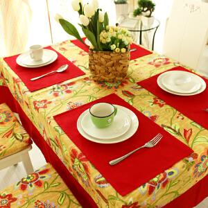 乐唯仕餐垫大红色活动结婚喜庆酒店大红餐桌布艺隔热防烫杯垫碗垫