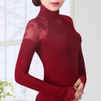 秋冬新款女士高领针织螺纹透视蕾丝打底衫外穿小衫春蕾丝袖口