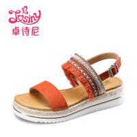 卓诗尼2017夏季新款民族风坡跟凉鞋女休闲坡跟一字式扣带条纹女鞋