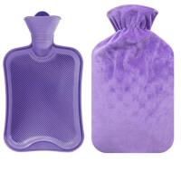 大号充水暖水袋 灌水暖手宝  厚橡胶注水热水袋  送水晶毛绒布套