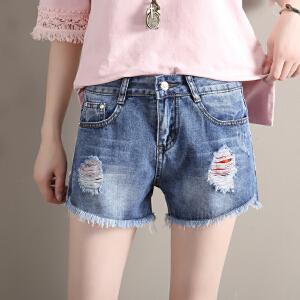 Freefeel2017夏季牛仔短裤女装新款磨破洞毛边修身个性彩带显瘦透气热裤