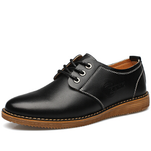 格罗堡春季新款男鞋日常休闲鞋男英伦百搭休闲皮鞋男商务正装鞋低帮鞋