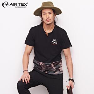 AIRTEX亚特户外男夏季迷彩网眼拼接透气上衣潮款个性印花短袖T恤AT1A19MT314