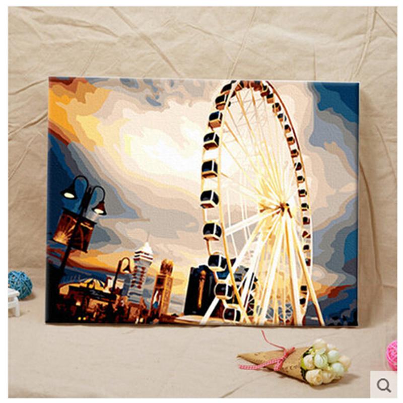 创意手绘画 数字油画 大幅客厅人物风景简单手绘创意装饰画_幸福