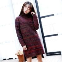 秋冬新款韩版长款高领套头毛衣宽松大码女长袖外套