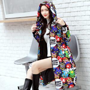 Freefeel2017秋冬新款羽绒棉服中长款女装韩版修身迷彩长大衣