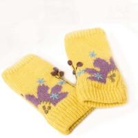 女冬可爱毛线露指手工针织手套  学生厚加绒保暖手套  半指手套