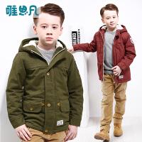 唯思凡童装男童冬装2016新款儿童上衣冬季加绒加厚外套中大童