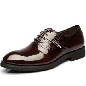 格罗堡春季新款男鞋时尚商务休闲皮鞋英伦系带正装鞋潮鞋婚鞋子