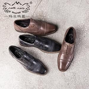 玛菲玛图秋季17新款方头单鞋女百搭方跟复古英伦风气质文艺小皮鞋8812-31秋季新品