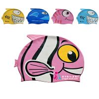 wave儿童鱼形卡通泳帽男童女童可爱小鱼动物造型防水硅胶游泳帽
