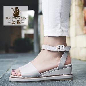 公猴坡跟凉鞋女夏学生2017新款罗马女凉鞋休闲厚底中跟凉拖鞋女潮