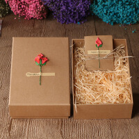 白领公社 包装盒 创意520复古牛皮纸礼品盒大号包装盒子正方形礼物盒母亲节父亲节情人节黑色礼盒