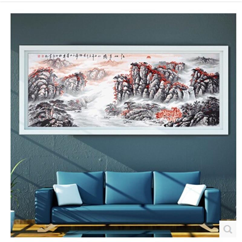 数字油画手绘客厅办公室大幅风景画装饰壁画_江山多娇