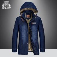 AFS JEEP棉服男青年连帽夹克牛仔外套冬季中长款加绒加厚大码棉衣