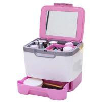 多层首饰化妆品收纳盒  桌面大号手提有盖带镜子化妆箱  收纳箱