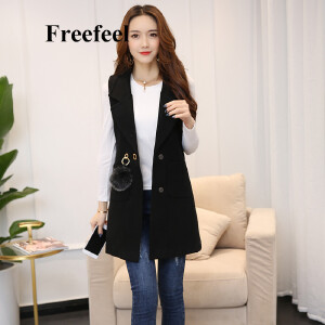 Freefeel2017秋冬新款女装毛呢马甲韩版时尚修身上衣毛球装饰外套1613