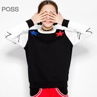 PASS原创潮牌冬装 时尚星星撞色拼接运动休闲加绒加厚卫衣女6540521189