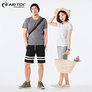 AIRTEX亚特户外夏季休闲透气情侣弹力短袖T恤衫男女圆领纯色修身AT1A19MT359