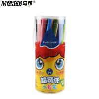 Marco马可 1630-24P水彩笔 24色可洗水彩笔 筒装水彩笔 儿童涂鸦笔 箭形笔头水彩笔 勾线涂色两用水彩笔
