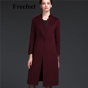 Freefeel2017新款春装羊绒大衣欧美风中长款时尚女装毛呢外套1696