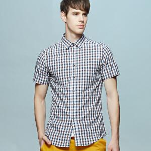 男士竹纤维短袖衬衫 冰爽彩色格纹