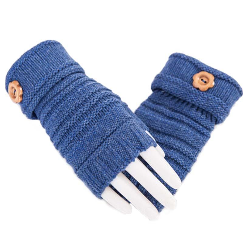 女士露指冬季厚保暖手套 冬天女学生半指手套 可爱纽扣毛线半指手套