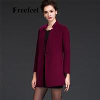 Freefeel2017新款春装羊绒大衣欧美风中长款时尚女装毛呢外套1699