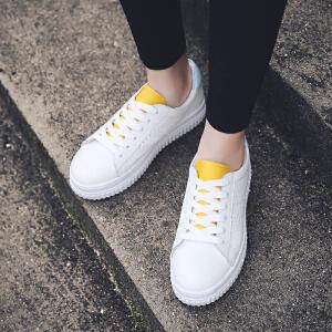 公猴春夏新款小白鞋女真皮平底单鞋运动休闲白色板鞋中跟厚底女鞋