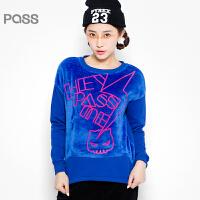 PASS原创潮牌冬装 拼接绒布保暖绒衫短款可打底小清新卫衣女6540521171