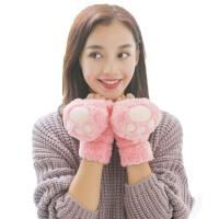 女冬可爱翻盖手套 女厚半指手套  学生冬季毛绒手套