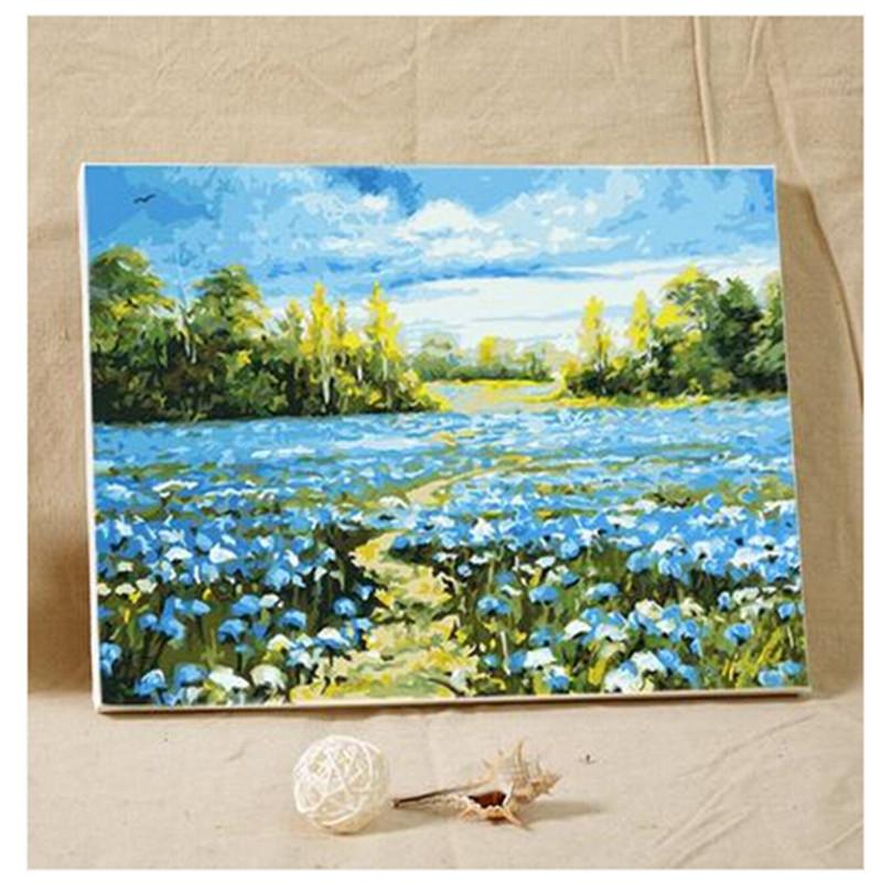 创意手绘画装饰礼品 数字油画大幅手绘客厅风景花卉人物装饰画_蓝色之