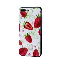 iPhone7 plus 草莓立体浮雕彩绘壳隐形支架手机壳 可挂绳壳