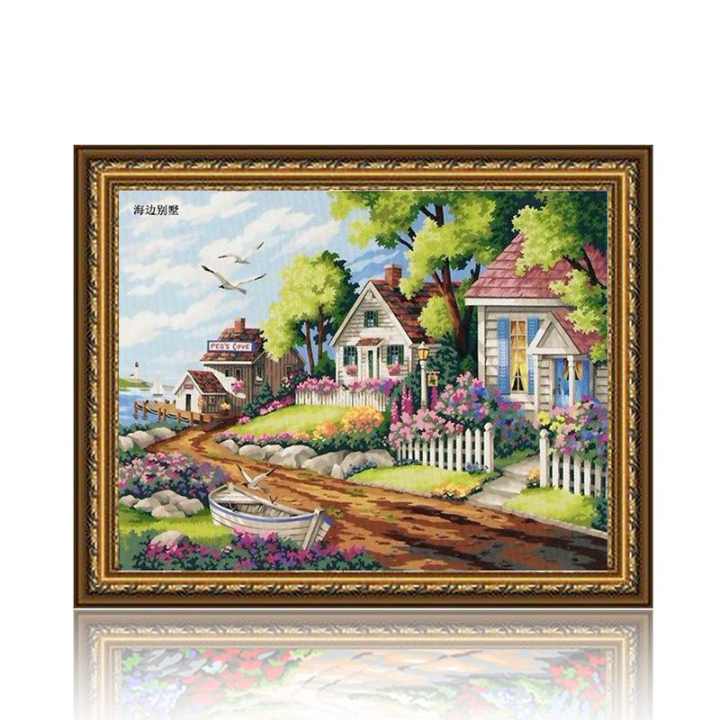 舞动色彩 海边别墅 diy数字油画风景彩绘装饰画 w0232