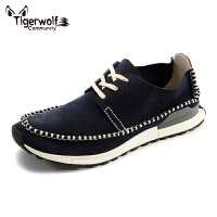 Tigerwolf虎狼公社商务休闲鞋牛绒皮男鞋英伦男士板鞋防滑韩版鞋