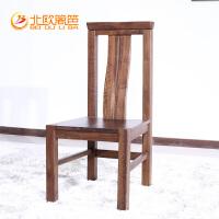 北欧篱笆全实木椅子纯北美黑胡桃木餐椅靠背坐椅北欧住宅家具