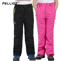 法国PELLIOT/伯希和 户外儿童软壳冲锋裤 男童女童防风保暖透气抓绒软壳裤