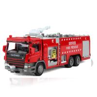 凯迪威合金工程车消防车车模儿童玩具模型水罐消防车模型玩具