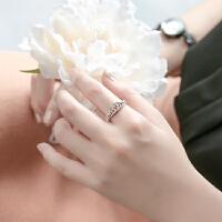 欧丁韩国皇冠纯银戒指女简约装饰镀金首饰品食指女日韩指环H005